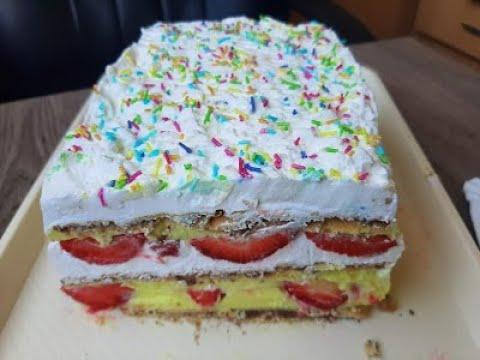 Bakina kuhinja - kremasta torta sa turskim keksom  i jagodama