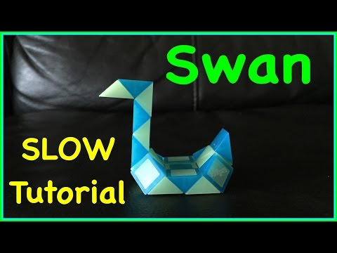 Rubik's Twist Or Smiggle Snake Puzzle SLOW Tutorial: How To Make A Swan Shape Step By Step