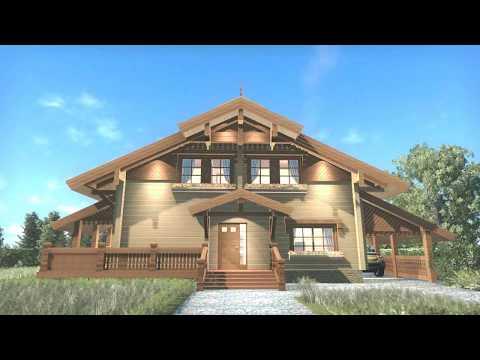 Проект деревянного дома-шале Европа 027 из бруса