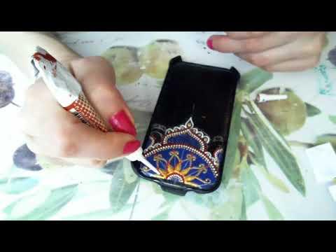 Точечная роспись чехла для телефона. Анна Соколова.