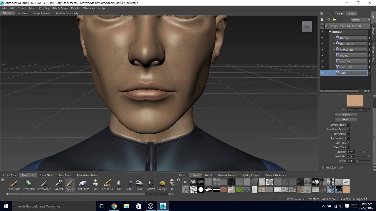 Painting a sci fi character texture in Mudbox YouTube