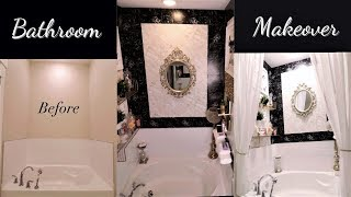 EXTREME BATHROOM MAKEOVER IN A RENTAL WITH DOLLAR TREE/WALMART ITEMS!