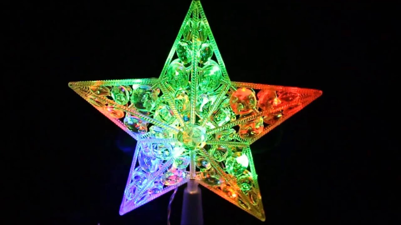 Estrella navidad led 22 luces punta de arbol youtube - Luces arbol de navidad ...