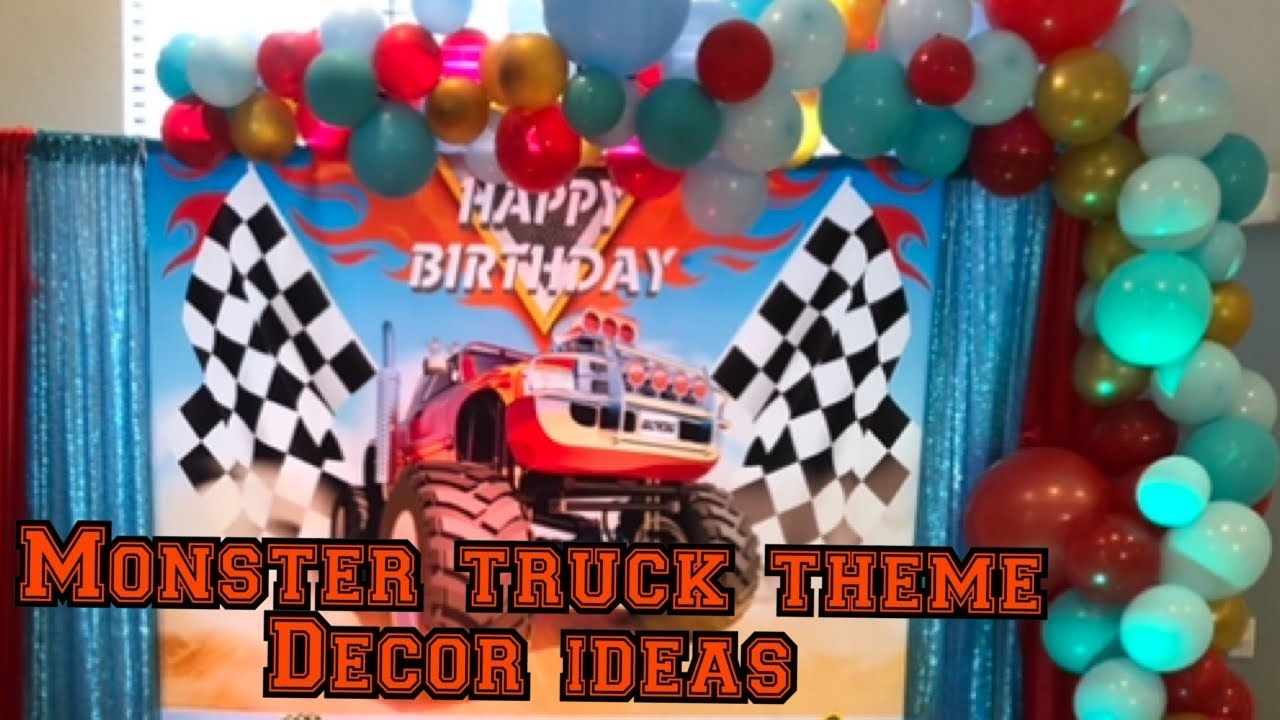 Monster Truck Decoration Ideas Cars Theme Birthday Decoration Red And Teal Balloongarland Disneycar Youtube