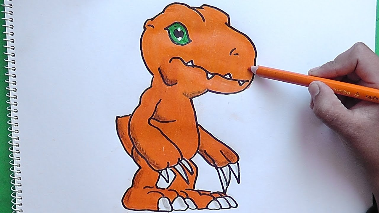 Dibujando y pintando a Agumon Digimon  Drawing and painting
