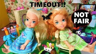 Elsa and Anna toddler get a TIMEOUT!! Both get in trouble for fighting! - Fun With Toys