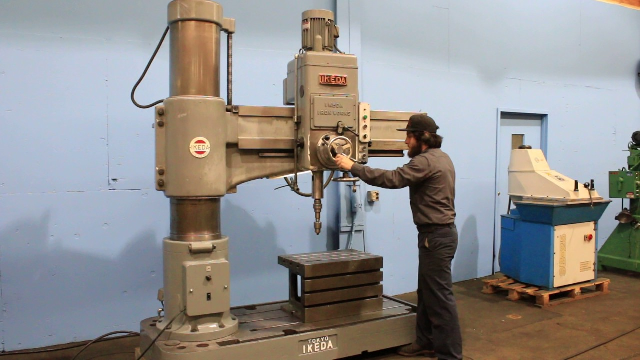 13 x 53 ikeda radial drill model rm 1300 s n 73259 new 1974 rh youtube com Shop Fox Radial Drill Press Heavy Duty Floor Drill Press