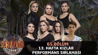 13. Hafta Performans Sıralaması Kızlar | 65. Bölüm | Survivor 2018