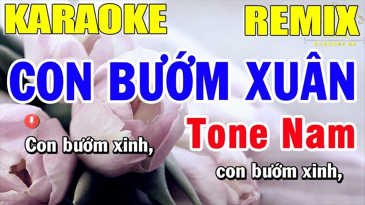 Karaoke Con Bướm Xuân Remix Tone Nam Nhạc Sống | Trọng Hiếu