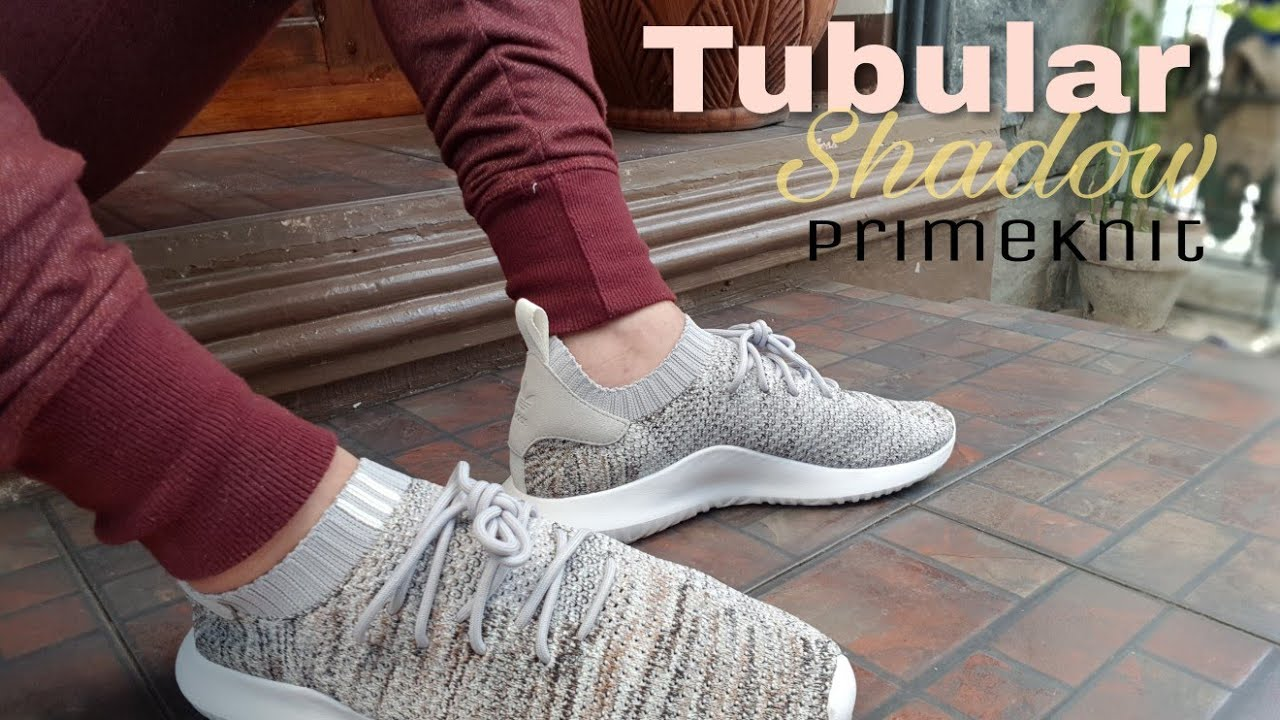 the latest 2a6a5 80331 Adidas Tubular Shadow Primeknit On Feet (cloud white/core black / raw  desert)