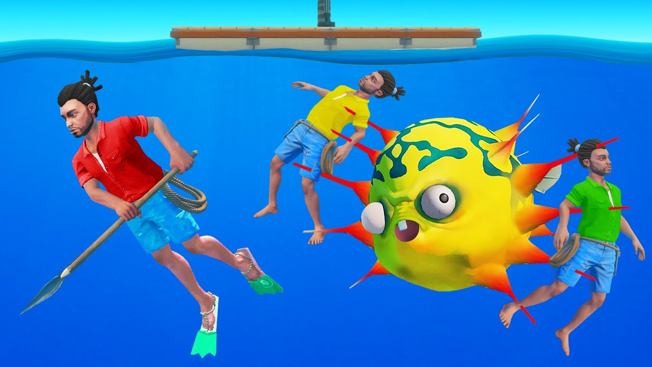 HUNTING The DEADLY PUFFER Fish! (Raft Multiplayer)