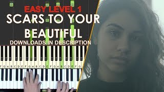 How to play Scars To Your Beautiful Alessia Cara easy LEVEL 1 piano cover tutorial for kids