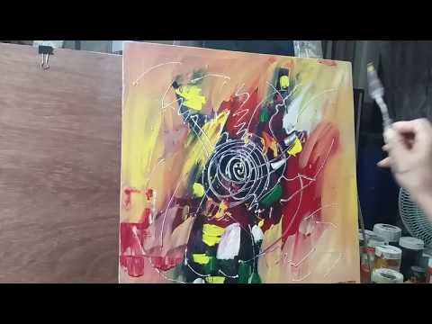..How to draw abstract painting with acrylic color/ demonstration Palette Knife Techniques