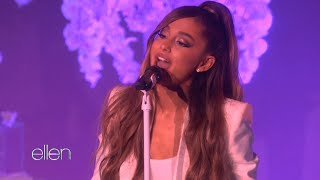 Ariana Grande Chokes Up During Performance on 'Ellen' Video