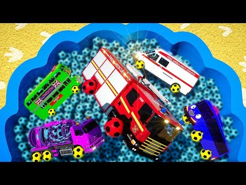 Learn Colors with Bus, Tractor, Fire Truck, Water Tank, Spec Truck Assembly Tyres fro Kids