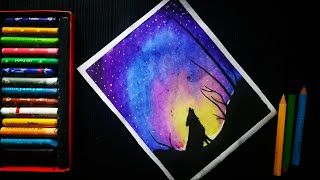 Night sky scenery with wolf oil pastel drawing oil pastel galaxy drawing YouTube