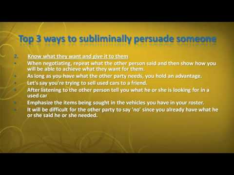 ways to persuade people You can do a lot of things to be more persuasive, from learning better ways to communicate to more shady manipulation techniques here are some of the easiest (and possibly evil) ways to get .