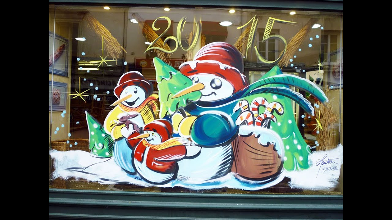 Peinture vitrine noel association mairie collectivites for Decoration de fenetre pour noel