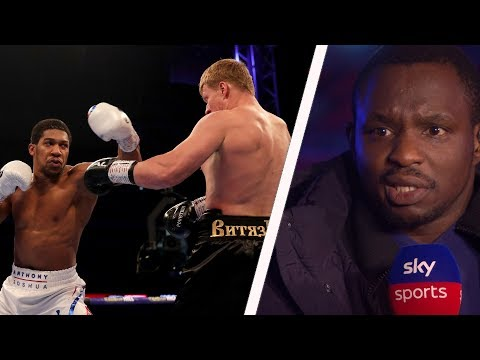 Dillian Whyte reacts to Anthony Joshua's knockout victory over Alexander Povetkin