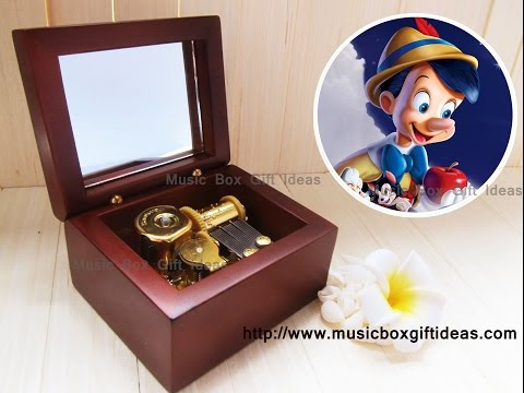 Wooden Wind Up Clorkwork Hurdy Gurdy Sankyo Music Box Disney Pinocchio When You WIsh Upon A Star