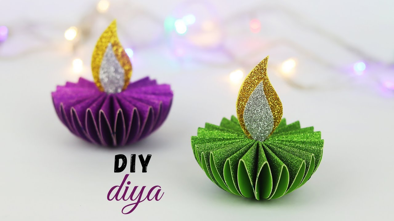 Paper Diya Making For Diwali Diwali Decoration Ideas At Home Diya Decoration Ideas Youtube