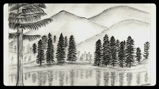 pencil lake drawing mountain draw misty scenery drawings sketch hill step paintingvalley