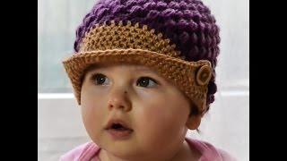 Repeat youtube video Czapka wiosenna z daszkiem/ Spring Hat Cap crochet
