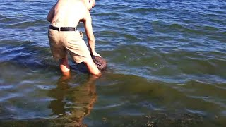 Этот мужчина стоял на берегу, когда вдруг почувствовал, что что-то потянуло его за ноги