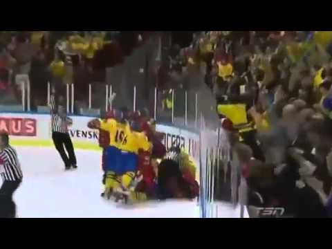 Biggest Fight in Sports 2014   Russian vs Sweden Hockey Players Beats Each Like Animals