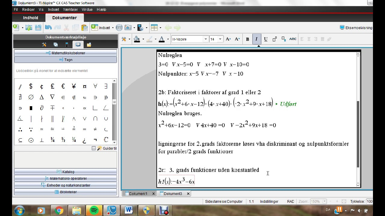 Bestemme nulpunkter for polynomier