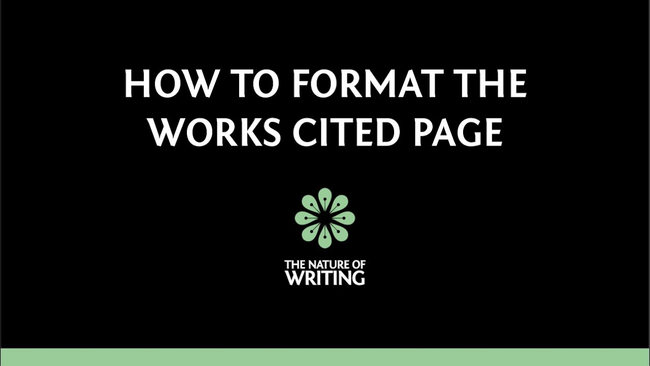 how to format your works cited page mla 8th ed youtube