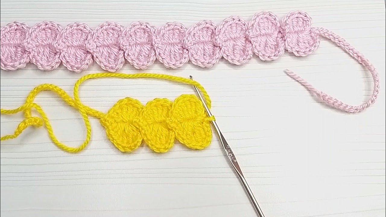 tığ işi sıralı kalpler bandana saç bandı yapımı/kolay bandana,asmr
