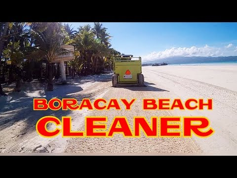 BARBER SURF RAKE Beach Cleaner On Duty in BORACAY