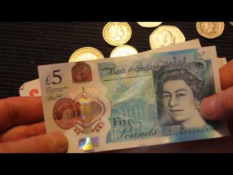 New Five Pound Plastic (Polymer) Sterling Note