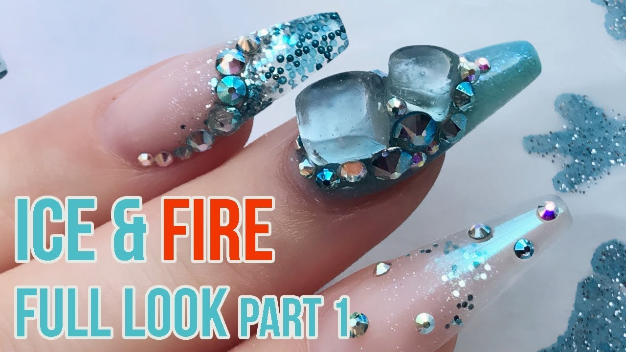 Ice & Fire full look part 1 - How to Sculpt Acrylic Nails - Full Cover,  Smile line & Glass Ombre