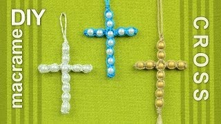 Beaded Macrame Cross / Easy DIY Tutorial