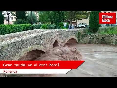 Gran Caudal En El Pont Romà De Pollença