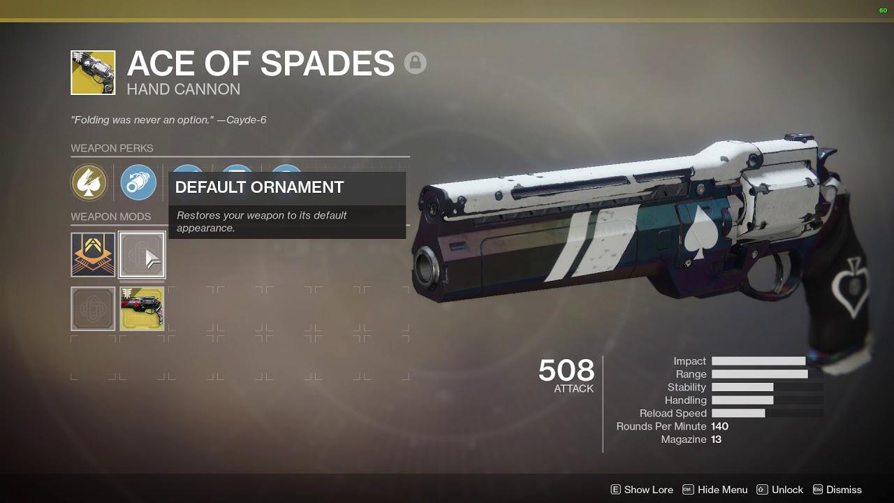 Destiny 2 Ace of Spades Ornament Vs Normal Look