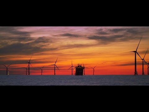 Sunset at Offshore Windpark EnBW Baltic 2 feat. Siemens ESVAGT Froude