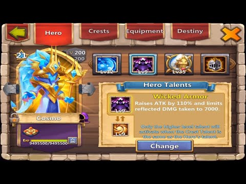 New Hero Cosmo Gameplay Talents Insignias And Full Setup | The Heroes | Castle Clash