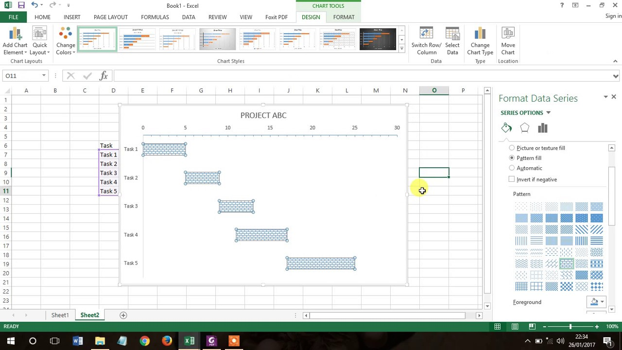 How to create gantt chart in excel easily youtube how to create gantt chart in excel easily nvjuhfo Images