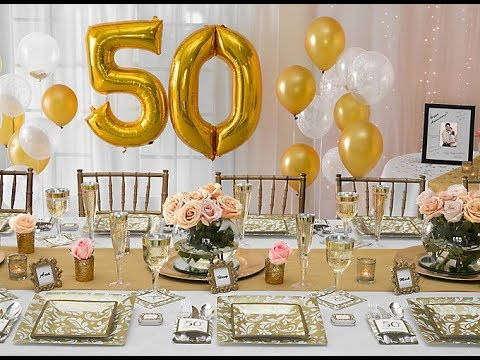 50th wedding anniversary table decorations anniversary decoration ideas at home 1160