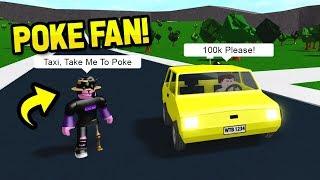 I Scammed A POKE FAN!.. By Using A FAKE TAXI (Roblox Bloxburg)