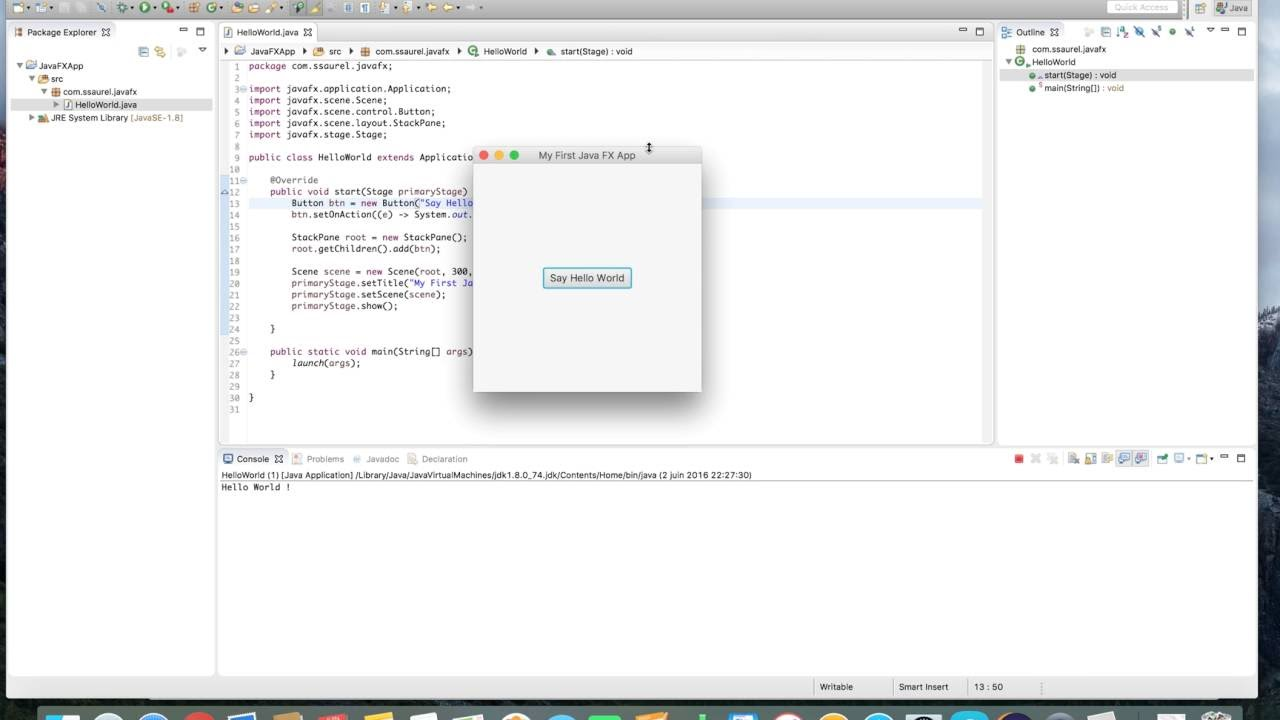 Learn to create your first JavaFX 8 App with Eclipse