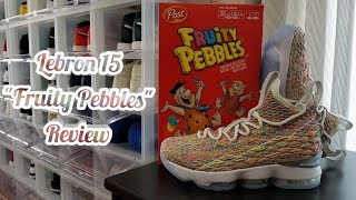 """4K Review! Nike Lebron 15 """"Fruity Pebbles"""" GS! LB15 """"Cereal""""!"""