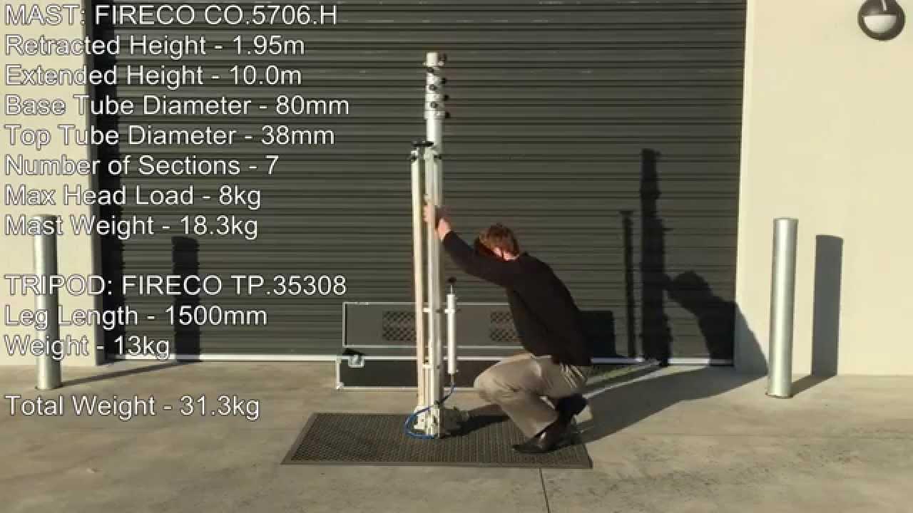 Fireco 10m Portable Lightweight Telescopic Mast with Tripod