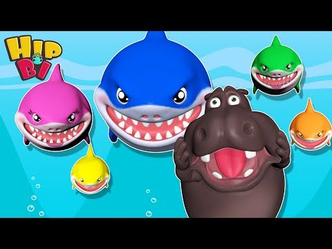 Funny Hippo with Ba Shark Family  Songs for Kids  Best Nursery Rhymes Toddlers HipBi