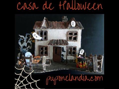 Casa de Halloween hecha con cartón - YouTube
