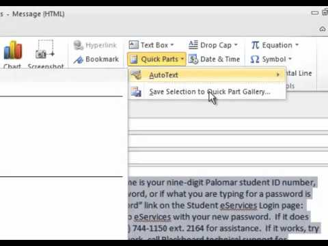Using Quick Parts in Outlook (and Word) 2010 - YouTube