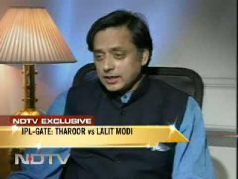 Shashi Tharoor with Barkha Dut - Over IPL controversy